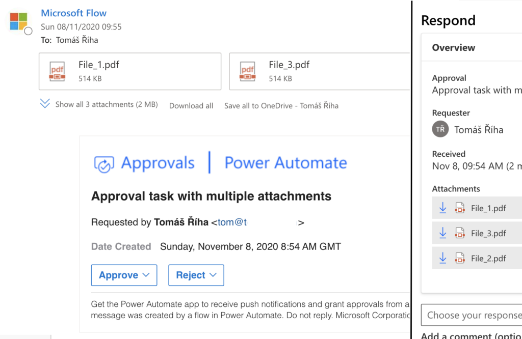 Approval task with multiple attachments