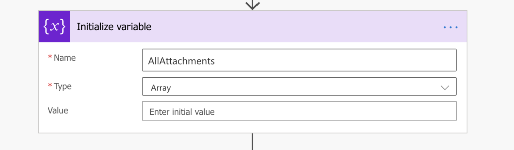 Power Automate Initialize variable