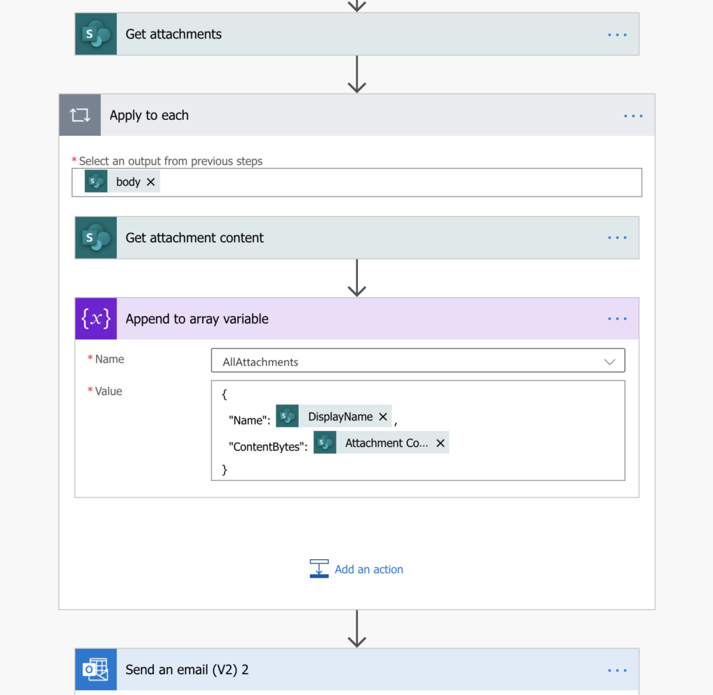 Power Automate send multiple attachments in an email
