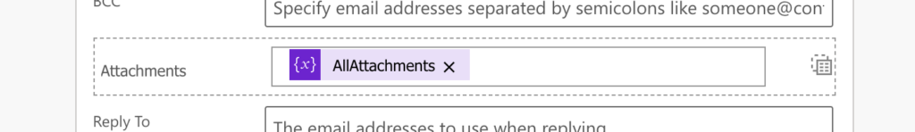 Power Automate add array variable to email attachments