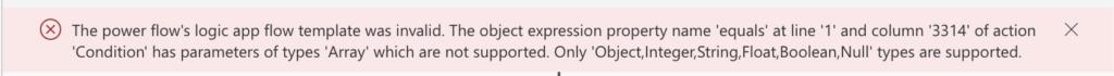 Power Automate empty array condition error