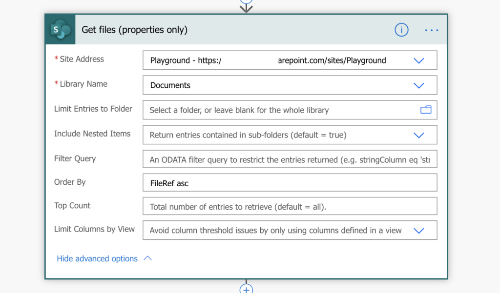 Power Automate Get files order