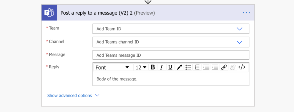 power automate post a reply to a teams message