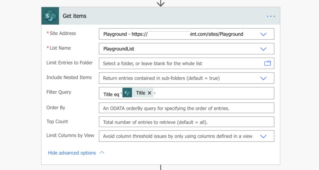 Power Automate lookup sharepoint list