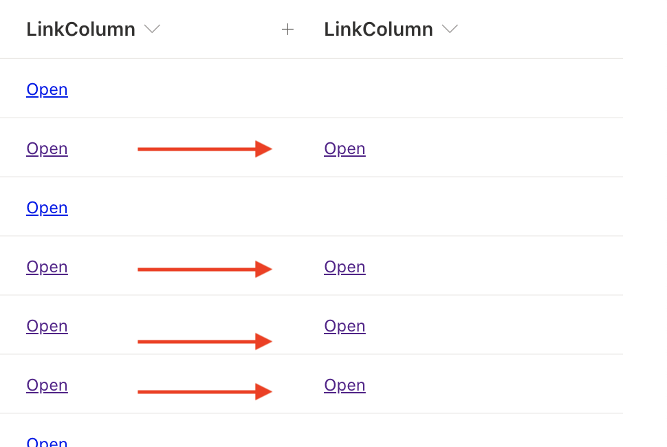 sharepoint hide json hyperlink column with no hyperlink