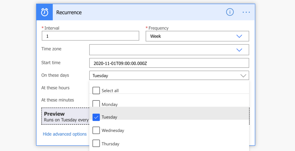 Power Automate schedule flow specific day of week