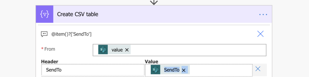 power automate csv table export person column