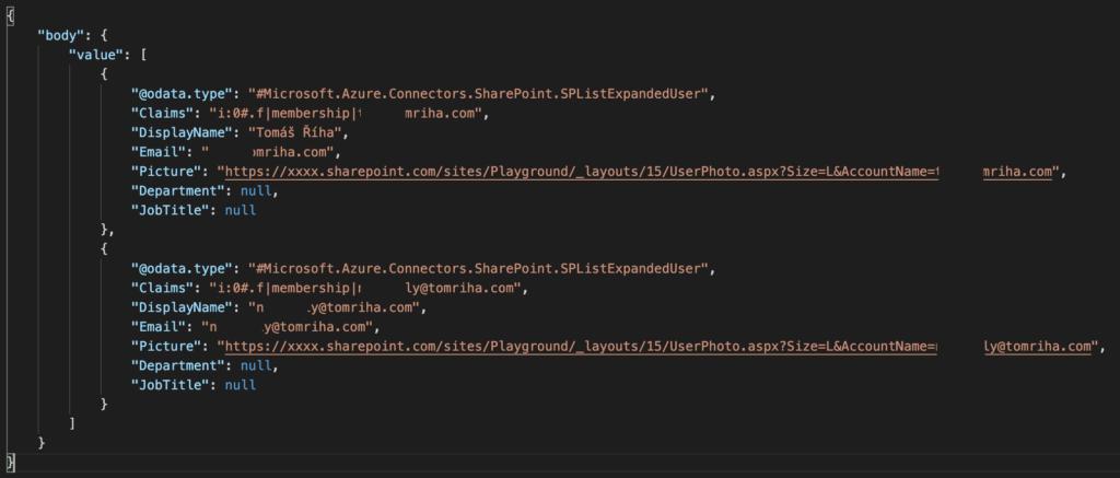 power automate csv table export person column json