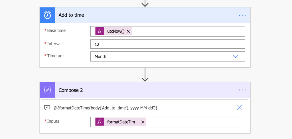 power automate add month to a date