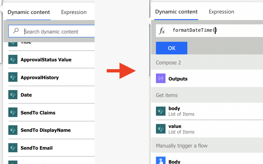 power automate missing date dynamic content expression