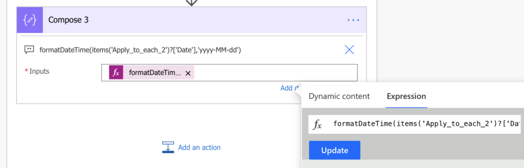 power automate expression with dynamic content