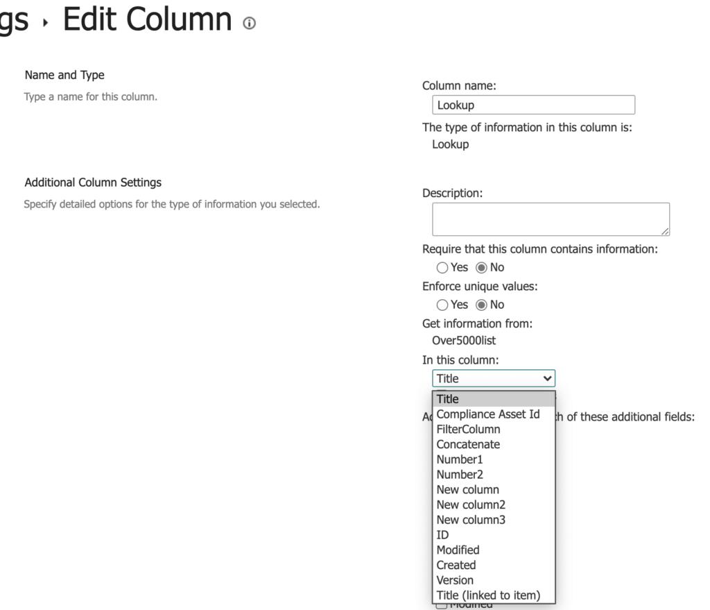 SharePoint change lookup column