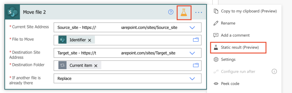 Power Automate static result to disable action