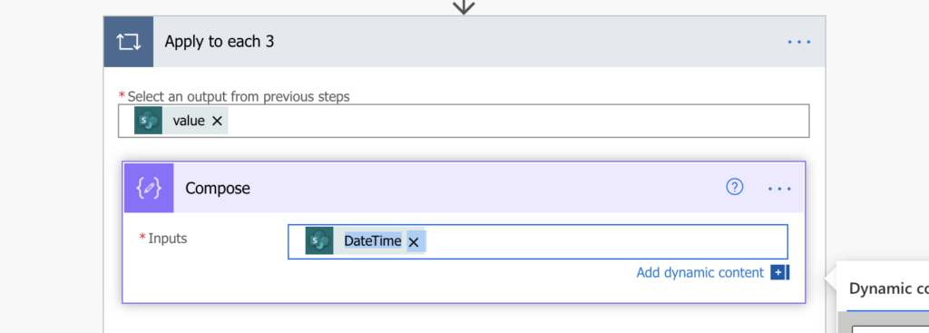 Power Automate get sharepoint column dynamic content