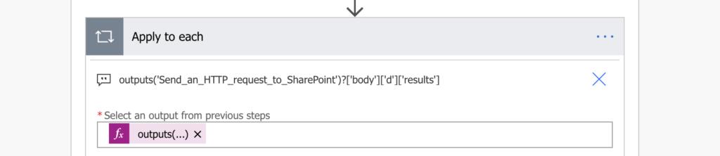 loop through http output array