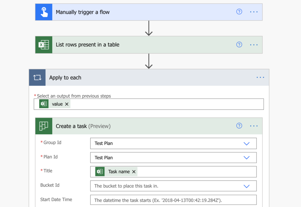 Create Planner tasks from Excel