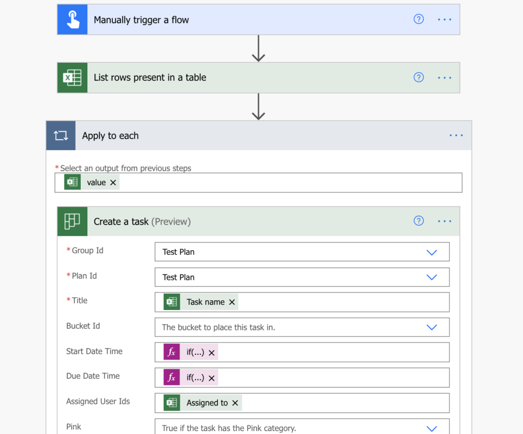 Import tasks from Excel into Planner with Power Automate