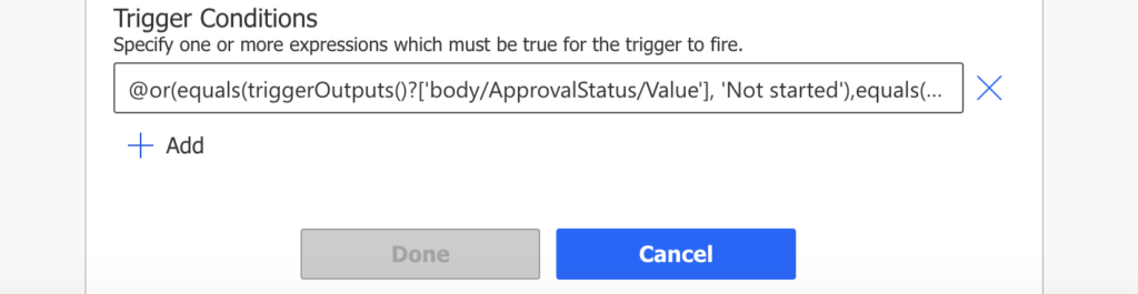 Power Automate OR trigger condition