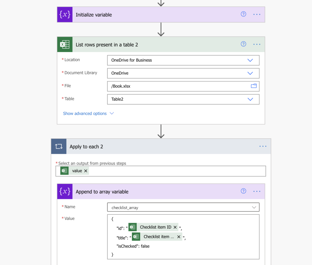 Process checklist from SharePoint in Power Automate