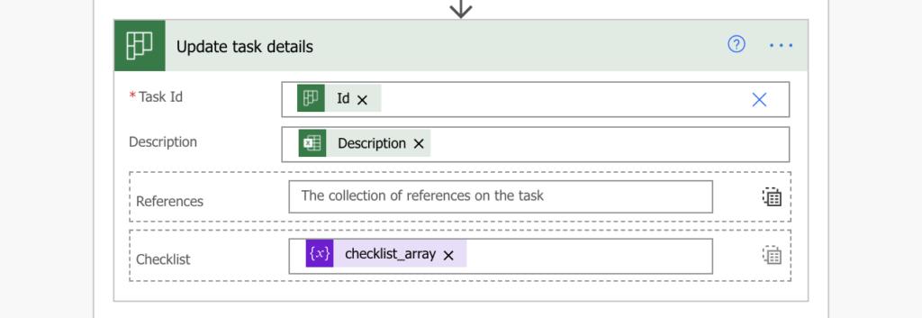 Update checklist to Planner task