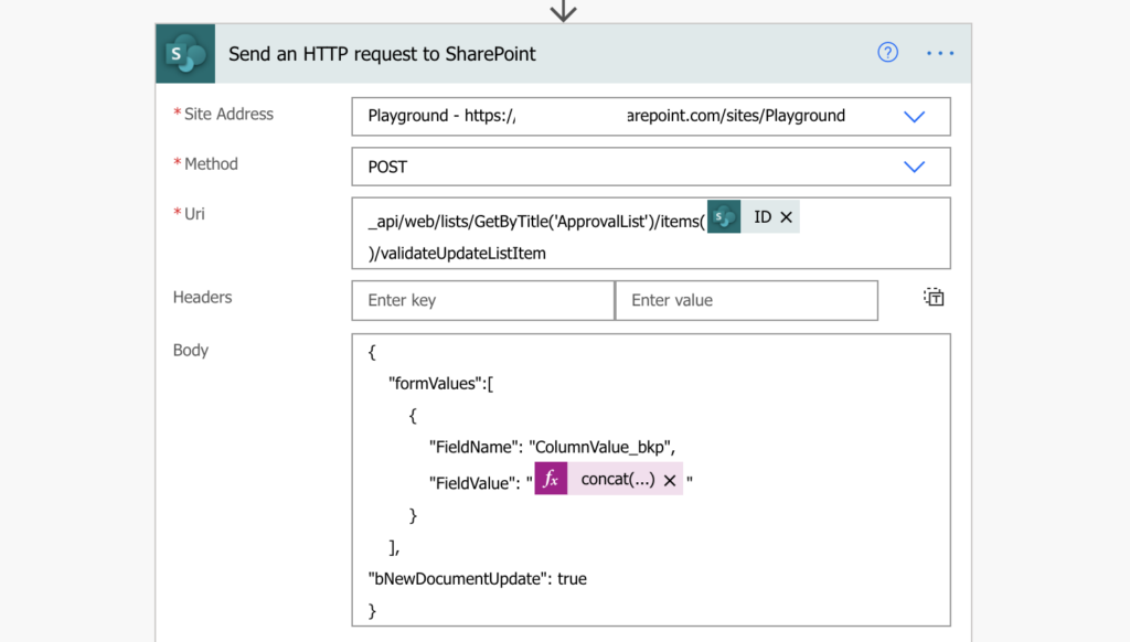 Power Automate HTTP update SP column without version