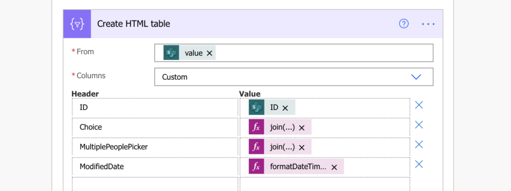 Power Automate format multiple choice columns in HTML table