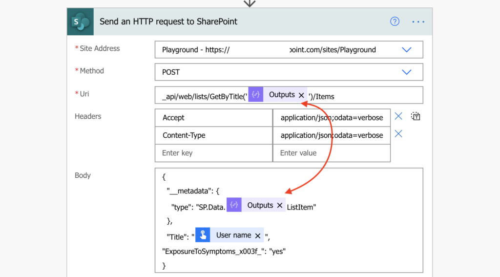 Power Automate http request create item