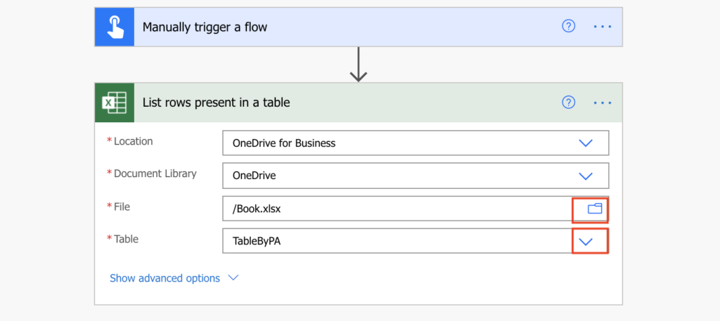 Power Automate select Excel file and table