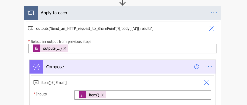 power automate process http request output