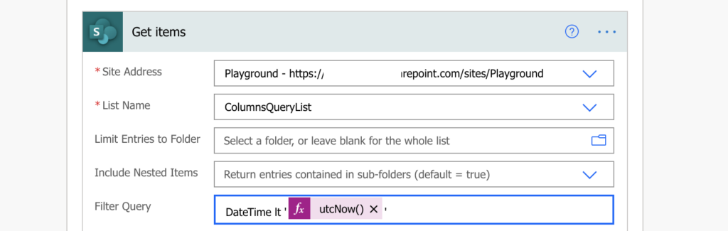 Power Automate filter date and time column
