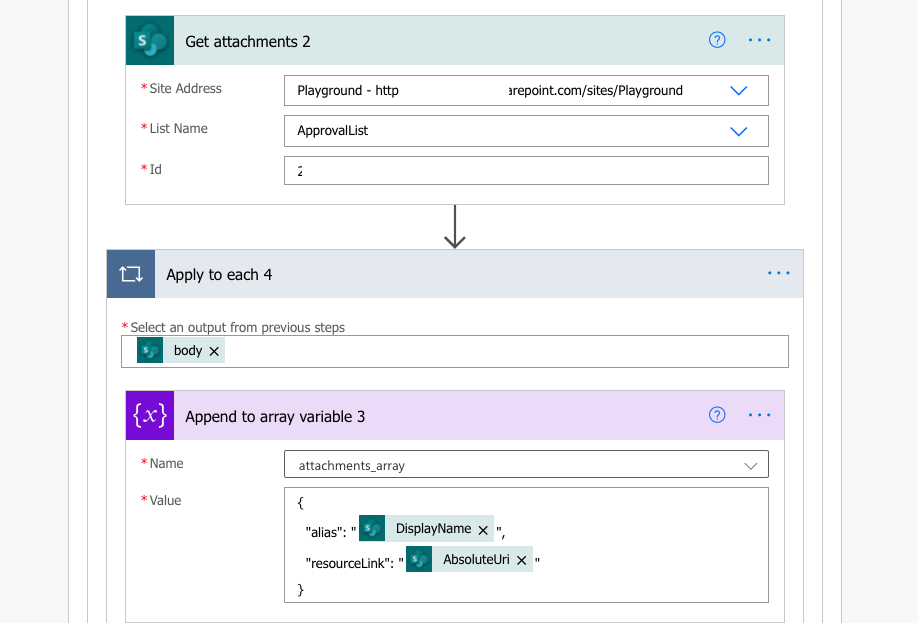 Get attachments from SharePoint item