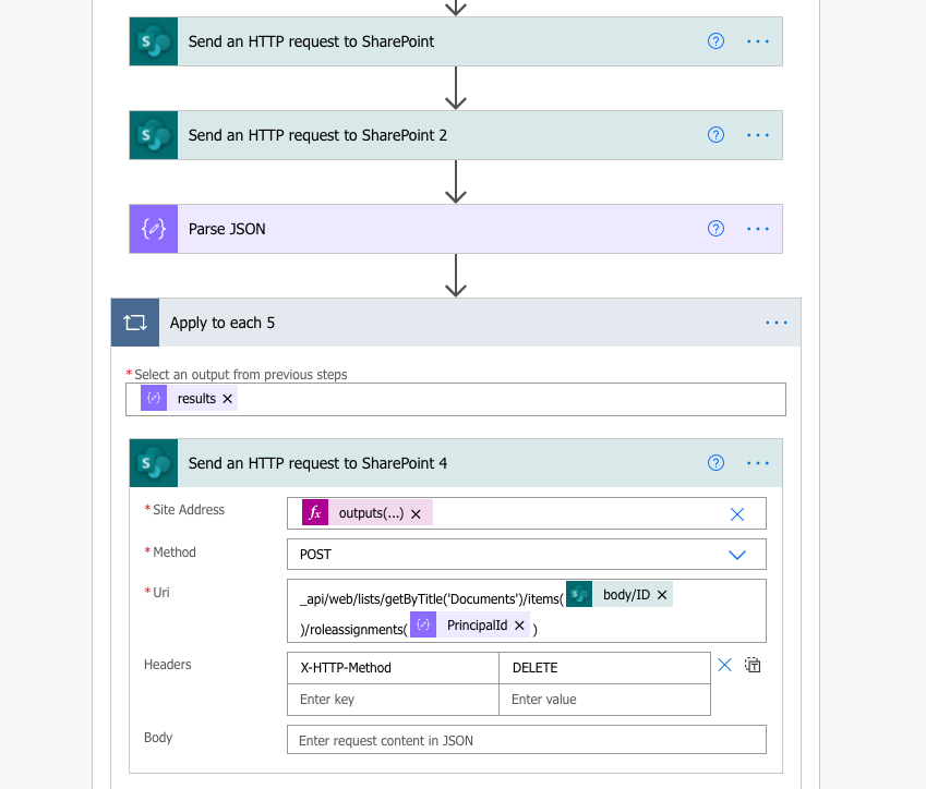 remove permissions from a SharePoint folder with Power Automate
