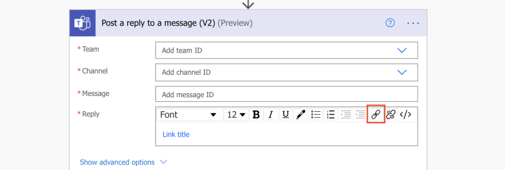 Teams message hyperlink Power Automate