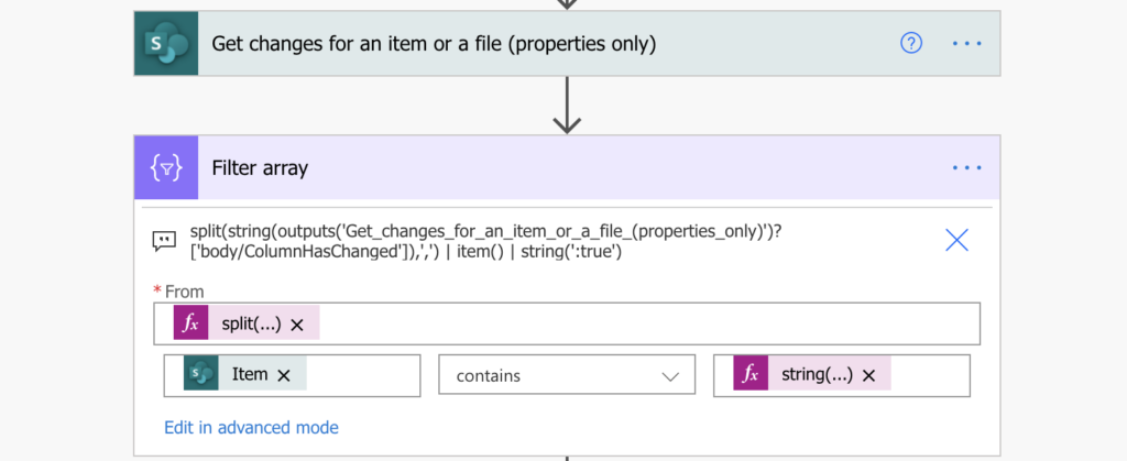 Power Automate SharePoint item updated columns