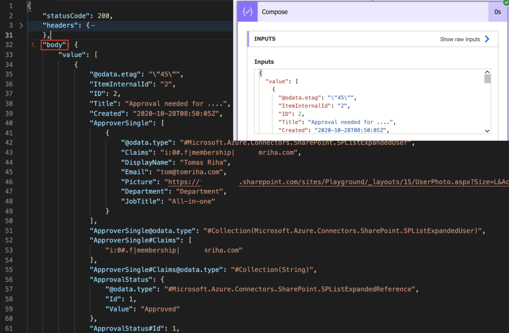 Power Automate specific value JSON